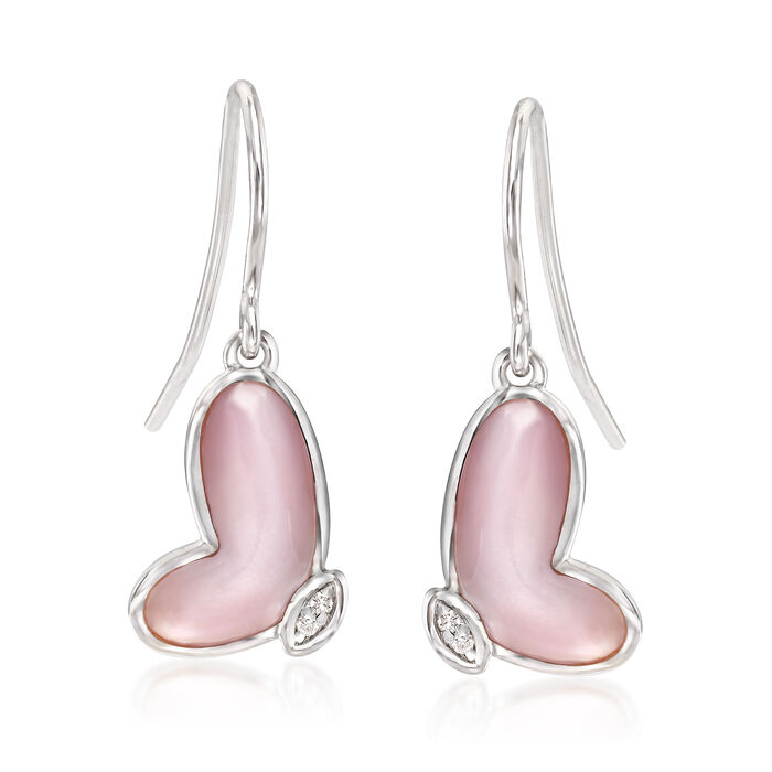 Pink Mother-Of-Pearl Butterfly Wing Drop Earrings with Diamond Accents in Sterling Silver, , default