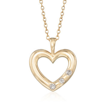 .10 ct. t.w. Diamond Heart Pendant Necklace in 14kt Yellow Gold