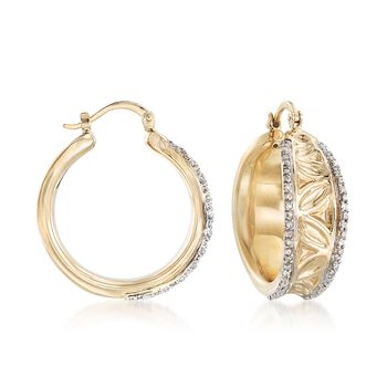".19 ct. t.w. Pave Diamond Hoop Earrings in 14kt Yellow Gold. 1"", , default"