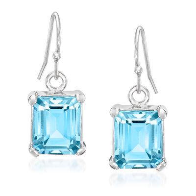 6.50 ct. t.w. Emerald-Cut Blue Topaz Drop Earrings in Sterling Silver, , default
