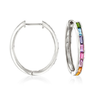 1.30 ct. t.w. Multi-Gem Hoop Earrings in Sterling Silver