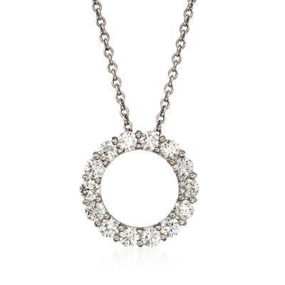 Roberto Coin 1.25 ct. t.w. Diamond Circle Necklace in 14kt White Gold
