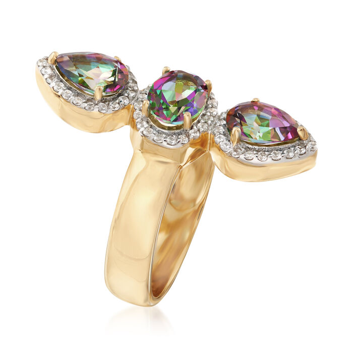 2.40 ct. t.w. Multicolored Topaz and .30 ct. t.w. White Zircon Frame Ring in 18kt Gold Over Sterling