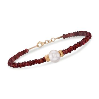 """Garnet Bead and 8.5-9mm Cultured Pearl Bracelet in 14kt Yellow Gold. 7.25"""", , default"""