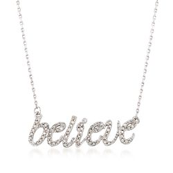 ".25 ct. t.w. Diamond ""Believe"" Necklace in Sterling Silver, , default"