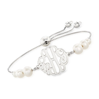 Cultured Pearl Monogram Bolo Bracelet in Sterling Silver, , default