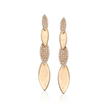 .35 ct. t.w. Pave Diamond Marquise-Shaped Drop Earrings in 14kt Yellow Gold, , default