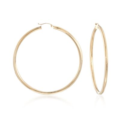3mm 14kt Yellow Gold Extra Large Hoop Earrings, , default