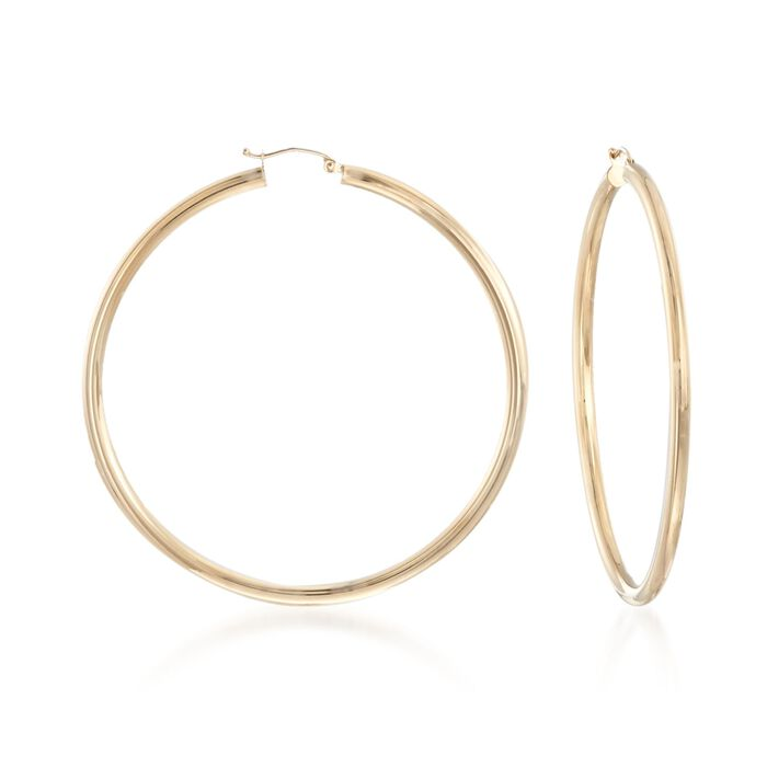 """3mm 14kt Yellow Gold Extra Large Hoop Earrings. 2 3/8"""", , default"""