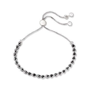 Black CZ Bead Bolo Bracelet in Sterling Silver, , default