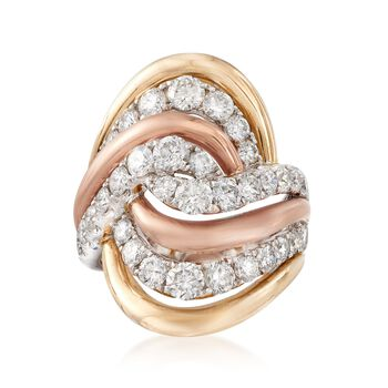 C. 1980 Vintage 2.50 ct. t.w. Diamond Swirl Ring in 14kt Tri-Colored Gold. Size 7, , default