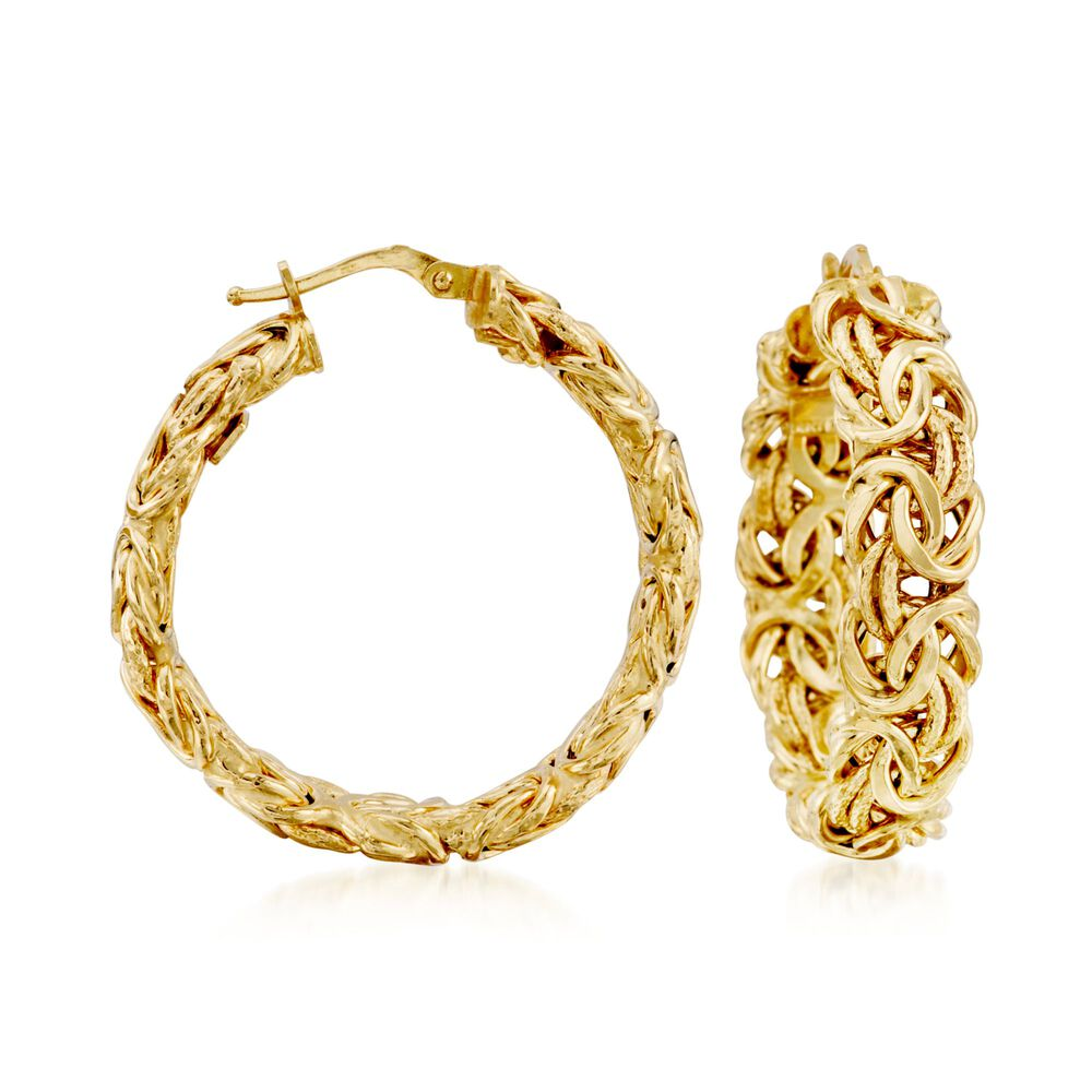 Italian 14kt Yellow Gold Byzantine Hoop Earrings 1 3 8 Default