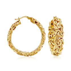"Italian 14kt Yellow Gold Byzantine Hoop Earrings. 1 3/8"", , default"