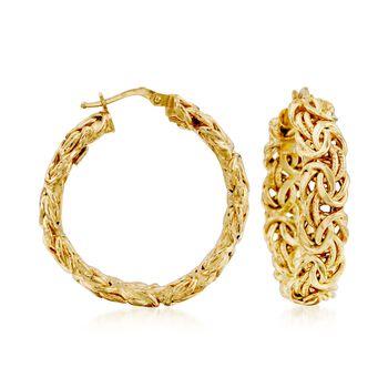 """Italian 14kt Yellow Gold Byzantine Hoop Earrings. 1 3/8"""", , default"""