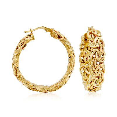 Italian 14kt Yellow Gold Byzantine Hoop Earrings, , default