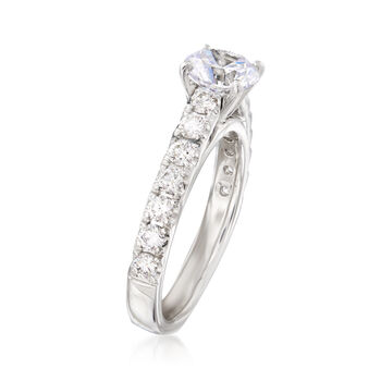 .63 ct. t.w. Diamond Engagement Ring Setting in 14kt White Gold. Size 6.5