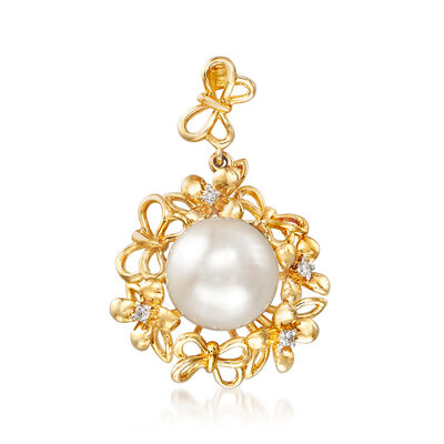 9-10mm Cultured Pearl Flower and Butterfly Pendant with Diamond Accents in 14kt Yellow Gold, , default