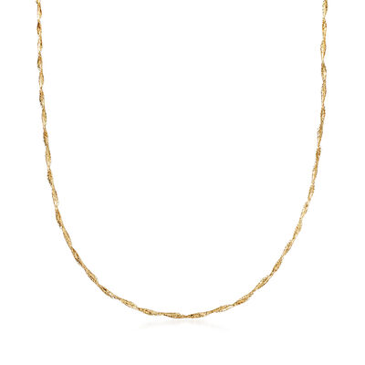 Italian 14kt Yellow Gold Twisted Mesh Necklace, , default