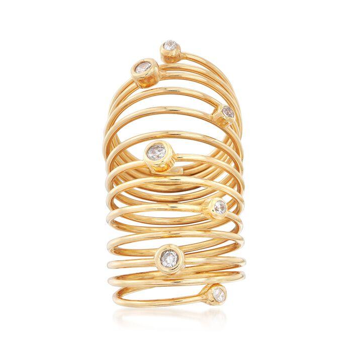 Italian .43 ct. t.w. Bezel-Set CZ Coil Ring in 18kt Gold Over Sterling, , default