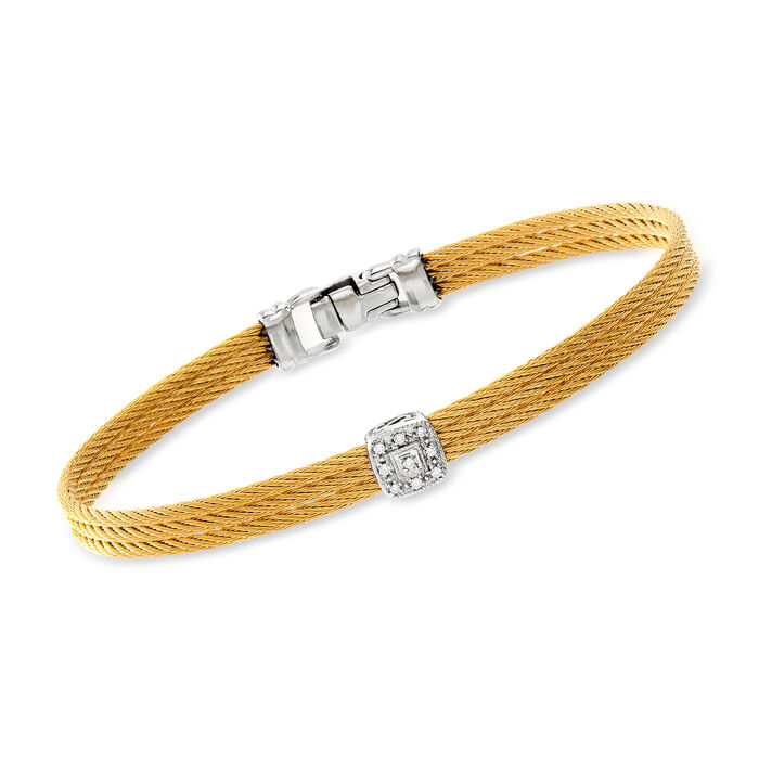 "ALOR ""Classique"" Yellow Stainless Steel Cable Station Bracelet with Diamonds and 18kt White Gold. 7"""