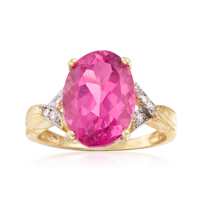 7.00 Carat Pink Topaz Ring with Diamond Accents in 14kt Yellow Gold