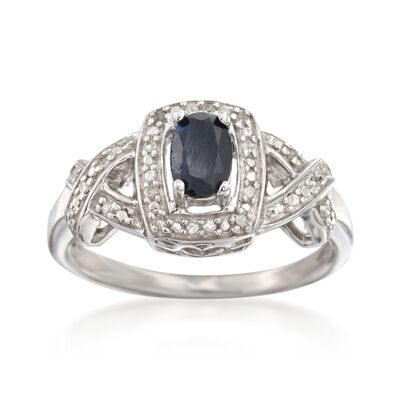 .60 Carat Sapphire Ring with Diamond Accents in Sterling Silver, , default
