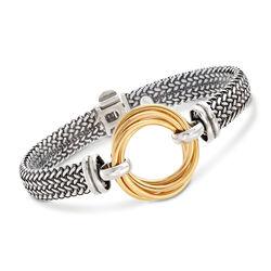 Italian Two-Tone Sterling Silver Interlocking Circle Bracelet, , default
