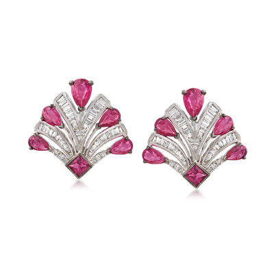 2.50 ct. t.w. Ruby and .65 ct. t.w. Diamond Earrings in 18kt White Gold