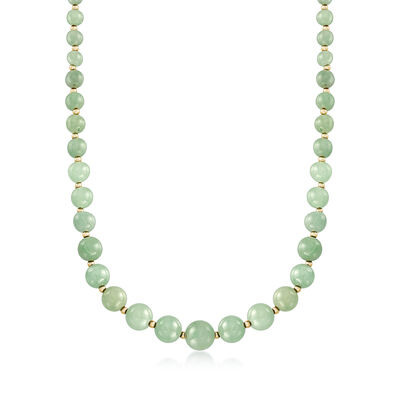 6-12mm Green Jade Bead Necklace with 14kt Yellow Gold, , default