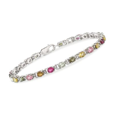4.60 ct. t.w. Multicolored Tourmaline Tennis Bracelet in Sterling Silver, , default