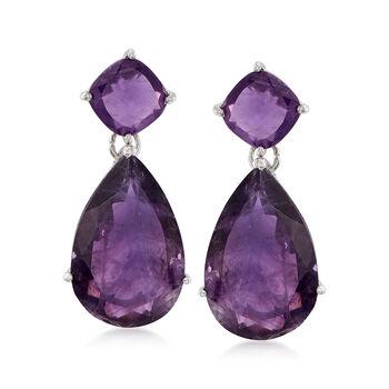 20.00 ct. t.w. Amethyst Drop Earrings in Sterling Silver, , default
