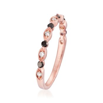 Henri Daussi 1.03 ct. t.w. Black and White Diamond Ring in 14kt Rose Gold. Size 6.5, , default