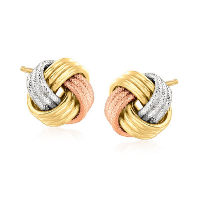 Italian 14kt Tri-Colored Gold Love Knot Earrings