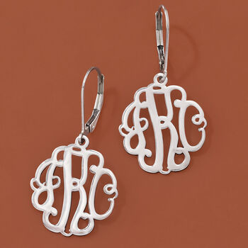 Sterling Silver Small Script Monogram Drop Earrings