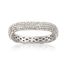 1.00 ct. t.w. Pave Diamond Squared Eternity Band in Sterling Silver, , default