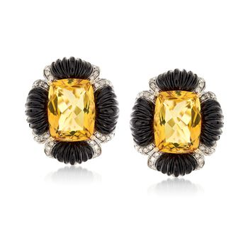 8.75 ct. t.w. Citrine and Black Onyx Earrings With .27 ct. t.w. Diamonds in 14kt Yellow Gold, , default