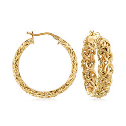 "Italian 18kt Yellow Gold Byzantine Hoop Earring. 1 1/4"", , default"