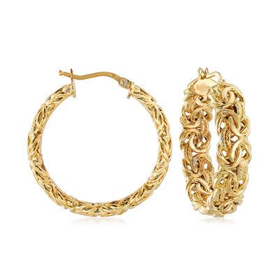 Italian 18kt Yellow Gold Byzantine Hoop Earrings, , default