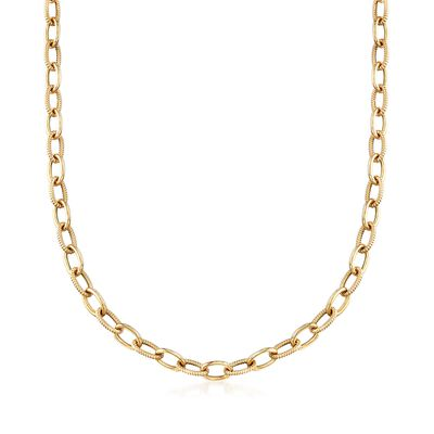 Italian 14kt Yellow Gold Textured and Polished Cable-Link Necklace, , default