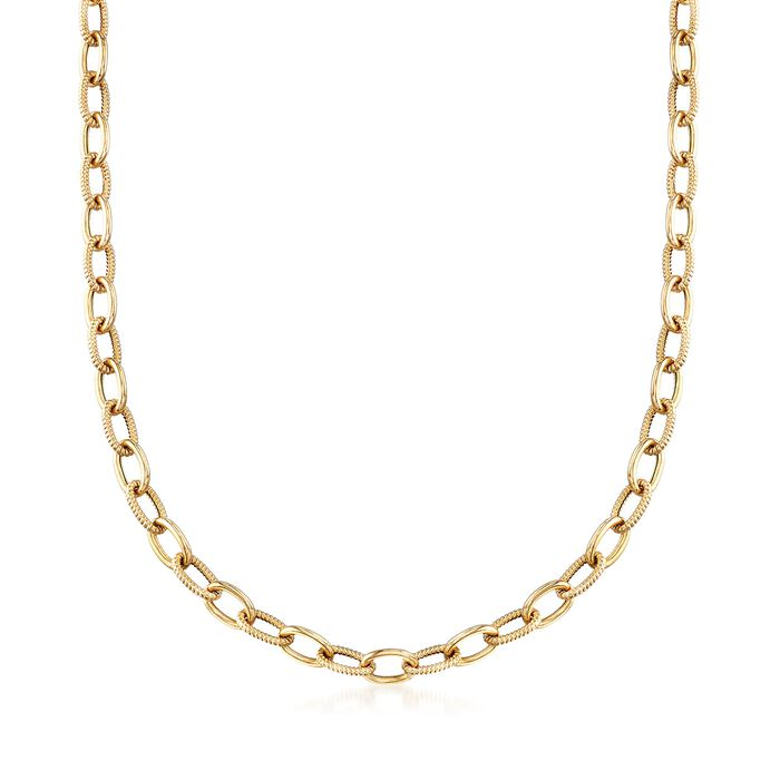 Italian 14kt Yellow Gold Textured and Polished Cable-Link Necklace