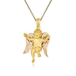 "14kt Two-Tone Gold Angel Pendant Necklace. 18"", , default"