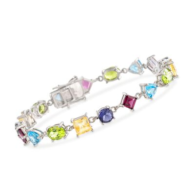 18.50 ct. t.w. Multi-Stone Bracelet in Sterling Silver, , default