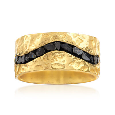 .50 ct. t.w. Rough-Cut Diamond Ring in 18kt Yellow Gold Over Sterling Silver, , default