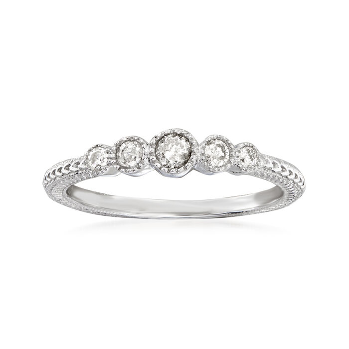 .25 ct. Tw. Diamond Milgrain Ring in Sterling Silver, , default