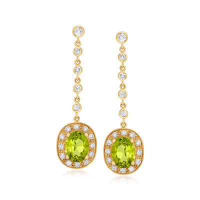 C. 1990 Vintage 4.09 ct. t.w. Peridot and 1.00 ct. t.w. Diamond Drop Earrings in 18kt Yellow Gold, , default