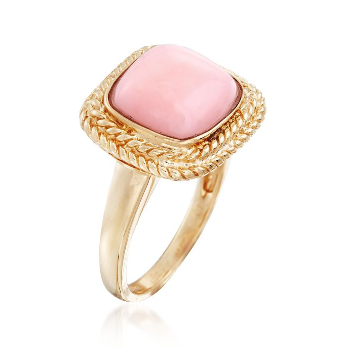 11mm Square Pink Opal Ring in 14kt Yellow Gold