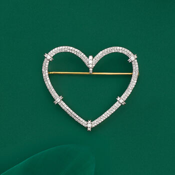 1.00 ct. t.w. Diamond Heart Pin in 18kt Gold Over Sterling