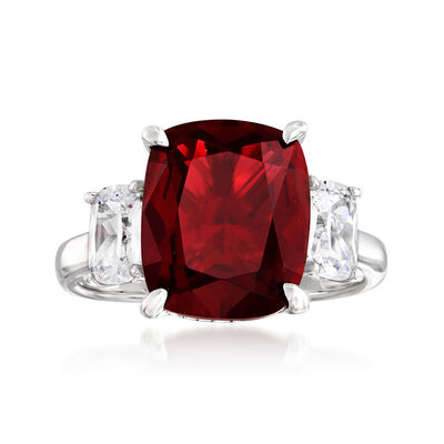 6.25 Carat Simulated Ruby and 1.10 ct. t.w. CZ Three-Stone Ring in Sterling Silver