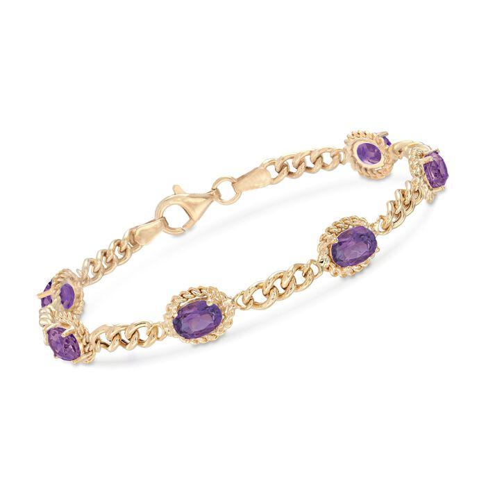 4.40 ct. t.w. Amethyst Link Bracelet in 18kt Gold Over Sterling Silver, , default