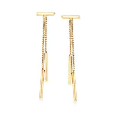 Italian 18kt Yellow Gold Popcorn Chain Drop Earrings, , default